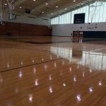 Prior to the removal of the basketball floor at LeMoyne College